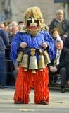 马其顿prilep 2018年2月18日-从Golemo Buchino villale的执行者从保加利亚的参加狂欢节Prochk 免版税图库摄影
