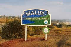 马利布在洛杉矶,加利福尼亚附近的路标 免版税库存图片