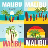 马利布海滩海浪横幅概念集合,平的样式 库存例证