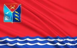马加丹州,俄罗斯联邦旗子  免版税图库摄影