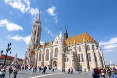 马加什教堂在渔夫本营,布达佩斯,匈牙利 库存照片