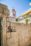 马可・波罗hause在Korcula,克罗地亚海岛城市 库存图片