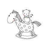 马和熊 孩子玩具 免版税图库摄影