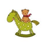 马和熊 孩子玩具 库存图片