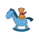 马和熊 孩子玩具 免版税库存图片