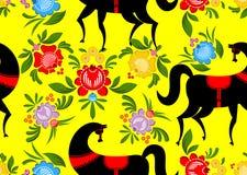 绘黑马和花卉无缝的样式的Gorodets Russi 免版税库存照片