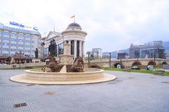 马喷泉,腓力普II正方形,斯科普里,马其顿 图库摄影