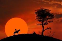 马在橙色日落的车手剪影 免版税库存照片