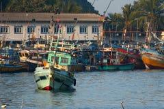 马塔勒捕鱼港口在斯里兰卡 库存图片