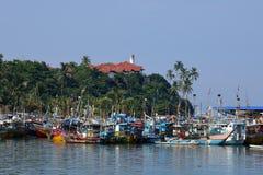 马塔勒捕鱼港口在斯里兰卡 免版税库存照片