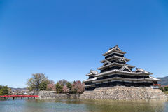 马塔莫罗斯城堡和护城河在bluesky背景中 免版税库存照片