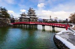马塔莫罗斯城堡在冬天,长野,日本 免版税库存图片