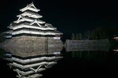 马塔莫罗斯城堡在晚上在冬天 日本 免版税库存图片
