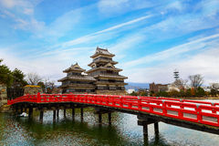 马塔莫罗斯城堡在马塔莫罗斯市,长野,日本 免版税库存照片