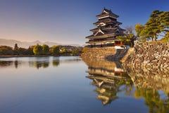 马塔莫罗斯城堡在马塔莫罗斯,日落的日本 库存照片