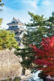 马塔莫罗斯城堡的边在秋天季节的 免版税库存照片