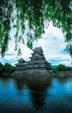 马塔莫罗斯城堡美丽中世纪武士年龄在东本州,长野,日本 免版税图库摄影