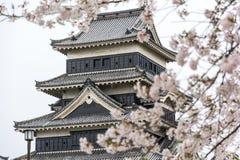 马塔莫罗斯城堡马塔莫罗斯jo,日本首要的历史的城堡在easthern本州,马塔莫罗斯石牌, Chubu地区,长野 库存照片