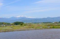 马塔莫罗斯盆地,长野,日本风景  库存照片
