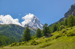 马塔角,瑞士阿尔卑斯上面  库存照片
