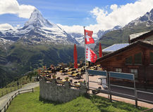 马塔角,从Sunegga天堂,瑞士人的看法 免版税库存照片