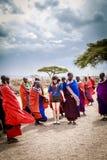 马塞人受欢迎的跳舞 免版税图库摄影