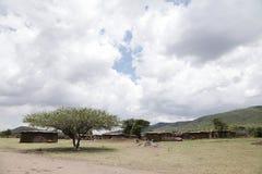 马塞人玛拉村庄 库存图片