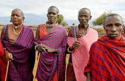 从马塞人部落的非洲人民 免版税库存照片