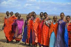 从马塞人部落的非洲人民 免版税图库摄影