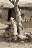 从马塞人部落的非洲孩子 免版税图库摄影