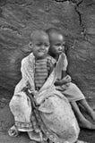 从马塞人部落的非洲孩子 免版税库存图片