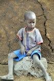 从马塞人部落的非洲孩子 库存照片