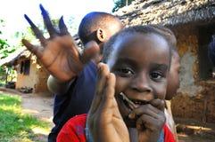 从马塞人部落的非洲孩子 免版税库存照片