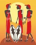 马塞语三个战士 库存照片