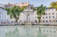 马好的喷泉在萨尔茨堡,奥地利 免版税库存图片
