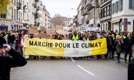 马尔什倾倒Le Climat行军在法国stre之上的抗议示范 库存照片