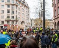 马尔什倾倒Le Climat行军在法国stre之上的抗议示范 免版税库存图片