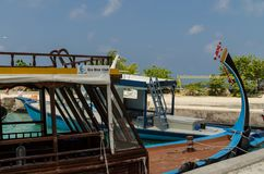 """马尔代夫†""""2017年11月:潜水的风景小船,特写镜头,热带Gulhi海岛在印度洋,马尔代夫 库存照片"""