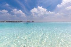 马尔代夫天堂海滩 完善的热带海岛 美丽的棕榈树和热带海滩 喜怒无常的蓝天和蓝色盐水湖 免版税库存图片