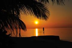 马尔代夫海岛海滩日落 免版税库存照片