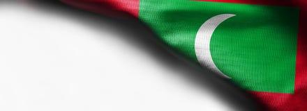 马尔代夫的旗子白色背景的-正确的顶面角落 免版税库存图片