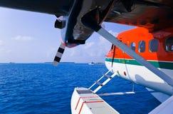 马尔代夫水上飞机 免版税库存图片