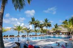 马尔代夫- 2013年1月17日:人们在水池休息并且游泳由与可可椰子树和躺椅的热带海洋海滩 库存图片