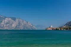 马尔切西内- Lago Di加尔达Panorama 库存照片