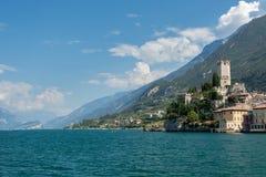 马尔切西内Lago di加尔达- Scaliger城堡 免版税库存图片