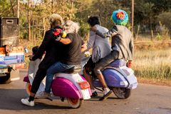 马尔加奥,果阿/印度2018年2月12日:狂欢节庆祝在果阿,印度 库存照片