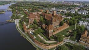 马尔堡在Nogat的一座强有力的条顿人城堡从概略的看法 图库摄影
