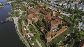 马尔堡在Nogat的一座强有力的条顿人城堡从概略的看法 库存照片