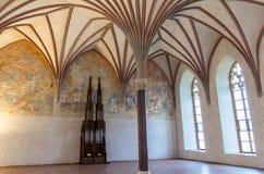 马尔堡城堡的最大的大厅,盛大餐厅 库存图片