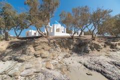 马尔塞洛海滩和贴水Fokas -基克拉泽斯海岛-爱琴海海Paroikia Parikia帕罗斯岛-希腊 库存照片